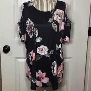 Cold Shoulder Floral Tunic Top, XL